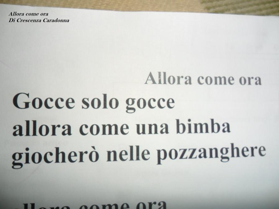 """""""Allora come ora"""" Poesia finalista Di Crescenza Caradonna"""