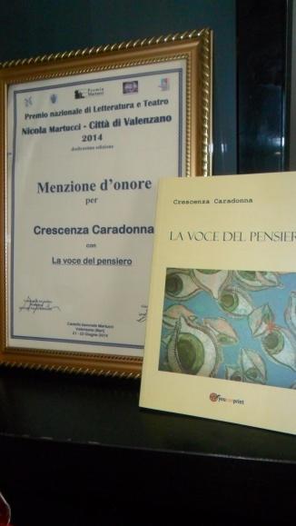 """MENZIONE D'ONORE  per Il libro  """" La voce del pensiero"""""""