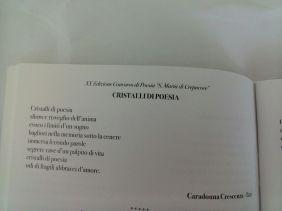 """""""Cristalli di poesia"""" Poesia pubb. a pag. 32 Edizione XX (2014 )Concorso """"Santa Maria di Crepacuore"""""""