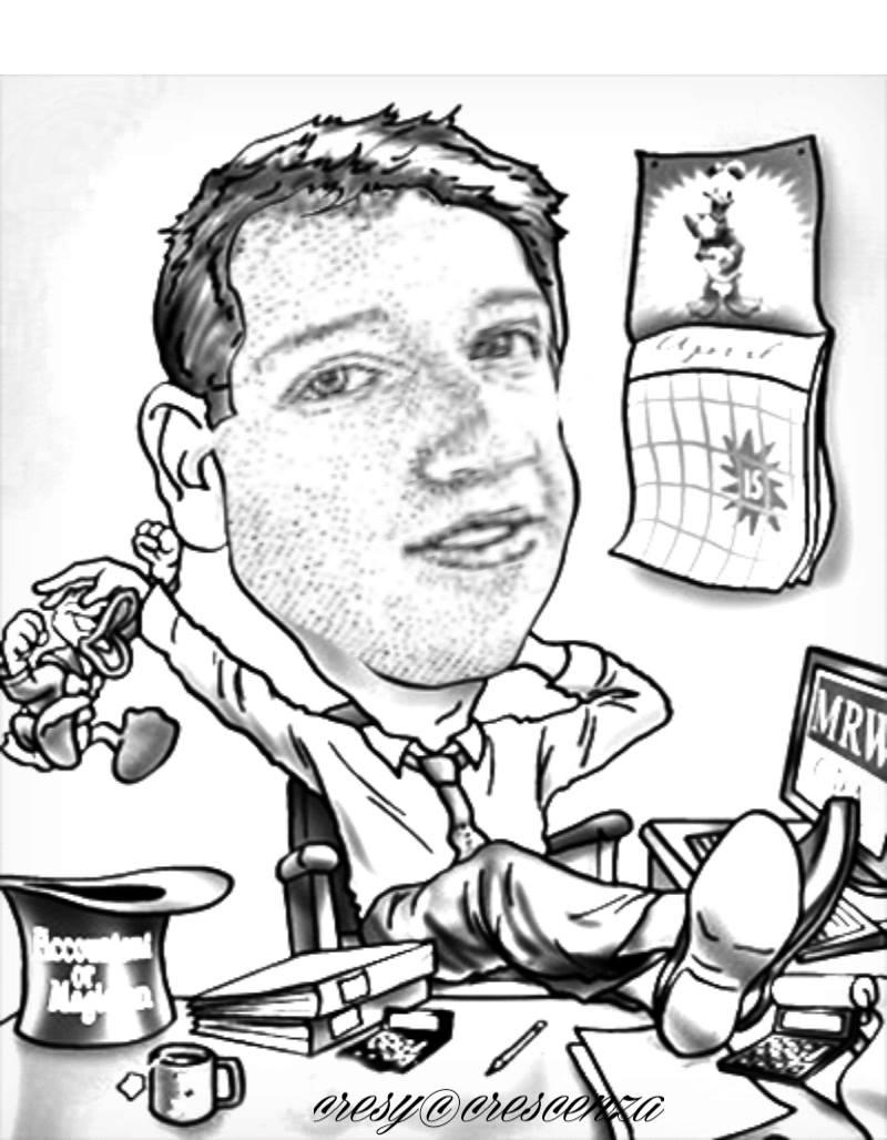 Mark Zuckerberg Il creatore di fb #caricature #cresycrescenza foto di Cresy Crescenza Caradonna.