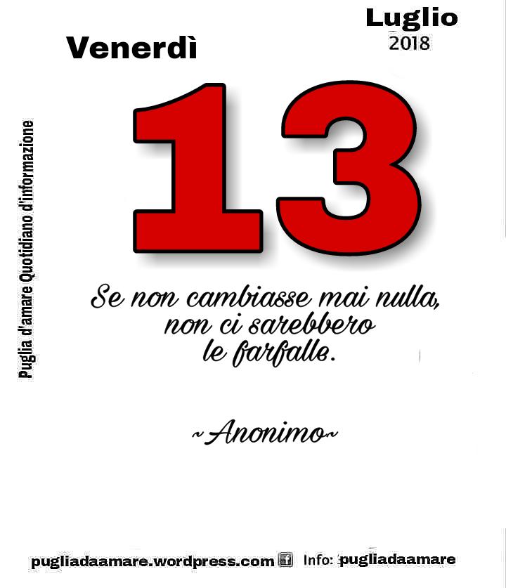 IL CALENDARIO SAGGIO VENERDÌ 13 LUGLIO 2018
