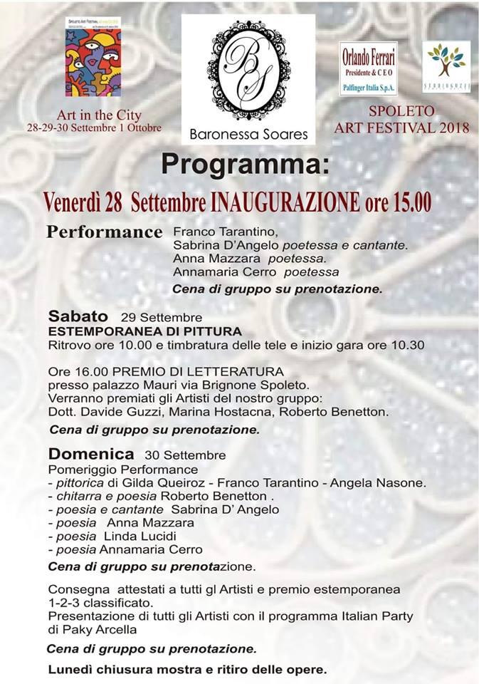 Spoleto Art Festival 2018: la Baronessa Soares inaugura Mostra presso l'Auditorium della Stella