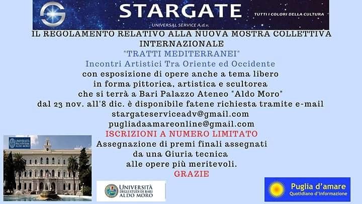 """MOSTRA D'ARTE COLLETTIVA """"TRATTI MEDITERRANEI"""" Incontri Artistici -Bari-"""