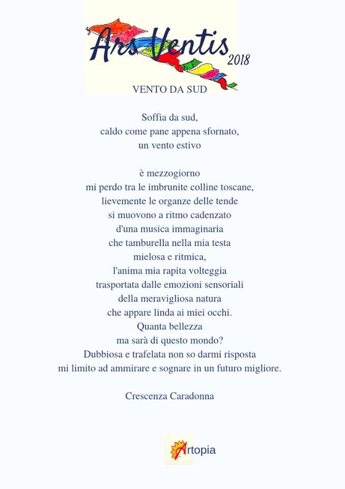 """Catalogo di Ars Ventis 2018 Crescenza Caradonna partecipa al """"Festival Ars Ventis sez.poesia"""