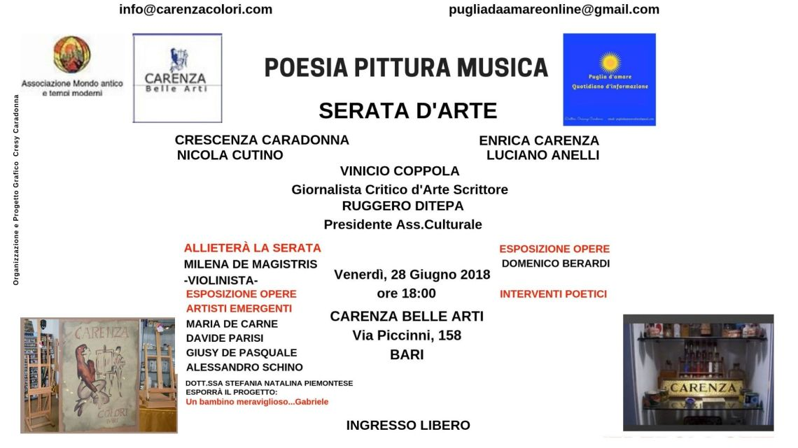 Poesia Pittura Musica -Serata d'Arte- presso Carenza Belle