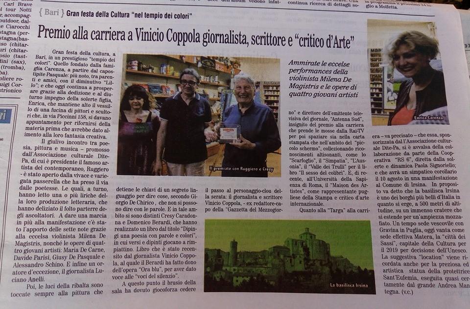 """Gran festa della Cultura """"nel tempio dei colori"""" Premio alla carriera a Vinicio Coppola giornalista, scrittore e """"critico d'Arte"""""""