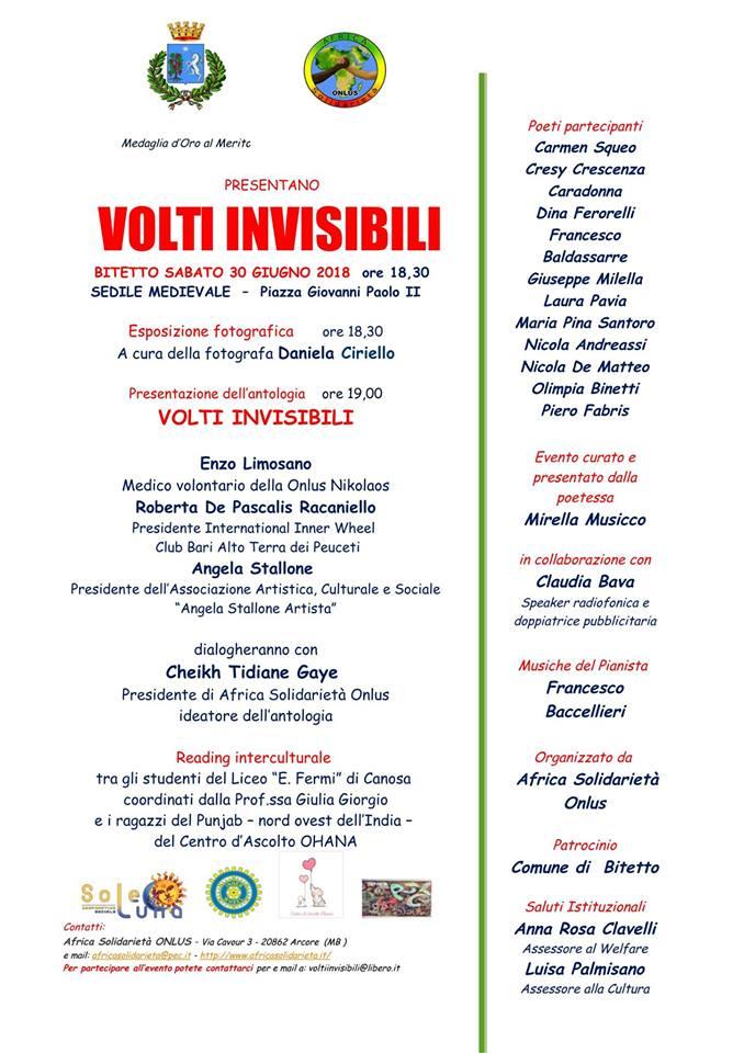 """L'antologia """"Volti Invisibili"""" a Bitetto"""
