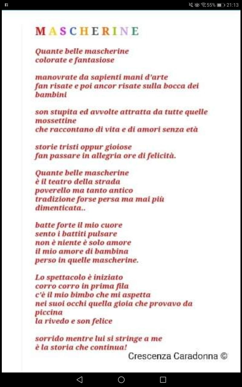 """Evento on line """"Carnevale"""" Crescenza Caradonna con la filastrocca """"Mascherine"""""""