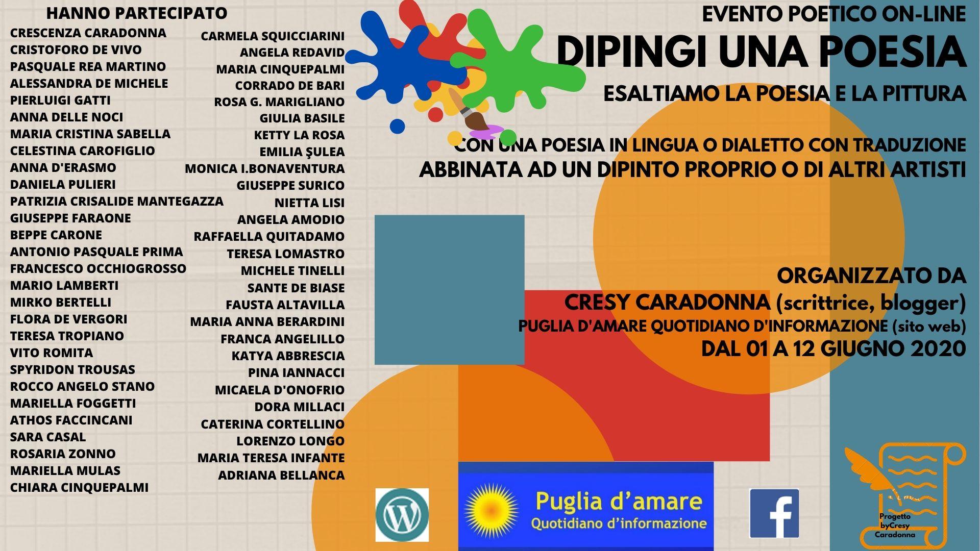 """TUTTI I NOMI DEI PARTECIPANTI: EVENTO POETICO/ARTISTICO ON-LINE """" DIPINGI UNA POESIA"""""""